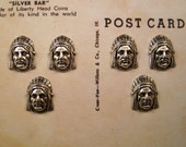 Small Matte Silver American Indian Stampings(6)-BT39834.