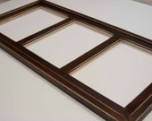 MULTI 3 Opening 8x10 distressed rustic collage picture frame with 8x10's in portrait position....dark walnut...HANDMADE