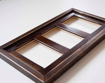 MULTI 3 Opening 4x6 distressed pine collage picture frame with the 4x6's in the portrait position...dark walnut...HANDMADE