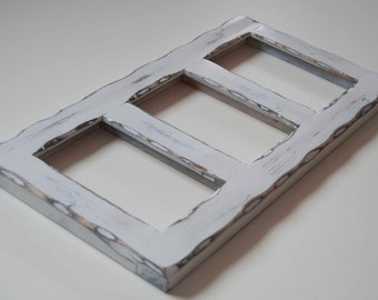 MULTI 3 Opening 4x6 distressed pine collage picture frame with the 4x6's in the portrait position...white...HANDMADE