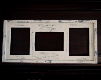 MULTI 3 Opening 5x7 distressed collage picture frame with 2) 5x7's in portrait & 1) 5x7 in landscape position...almond / ivory....HANDMADE