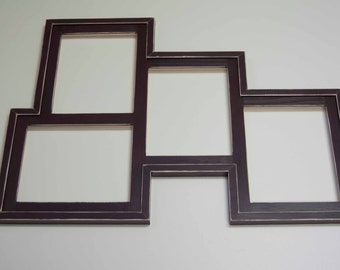 Collage Picture Frame - MULTI 4 Opening 8x10 distressed collage picture frame with 3) 8x10's in portrait & 1) 8x10 in landscape...java brown