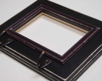 5x7 pine rustic distressed picture frame with key hooks and inner trim and a decorative routered edge...black and java brown...HANDMADE