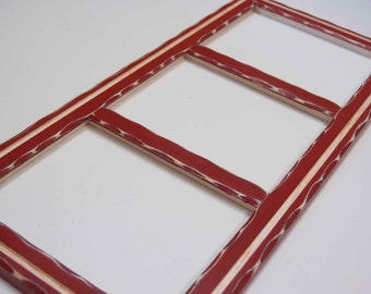 Collage Picture Frame - MULTI 3 Opening 8x10 distressed rustic collage picture frame with inner routered line - 8x10 - red - HANDMADE