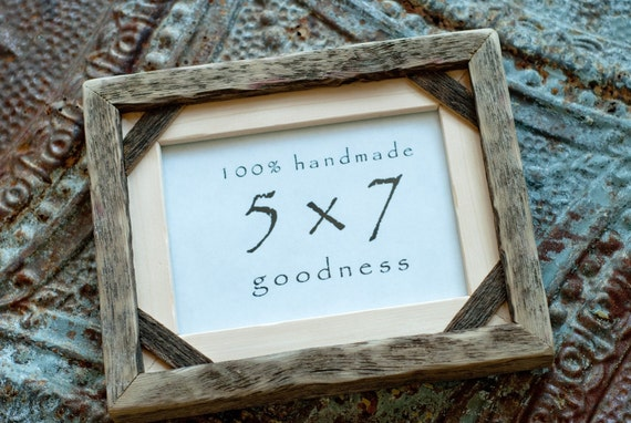5x7 pine and reclaimed barn wood rustic distressed picture frame with inner barn wood corner strip....Handmade