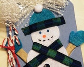 Snowman Tag 3D, Altered for Scrapbook, Gift or Card Topper   ...TAG0013...