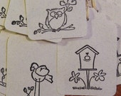 12 Tags Bird, Owl and Bird House with Hand Stamped Owl Art