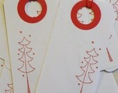 Tree, Tree Tag, Pine Tree Tag, Tree Gift Tag, Red Tree Tag, Primitive Tree Tag, White and Red Tree Tags, Pine Tree Art, Hand Stamped, 12PC