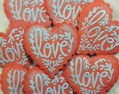CUSTOM LISTING for    ...90 Vintage Mulberry Paper Heart Embellishments Red Embossed with Pastel Blue Word Love ...
