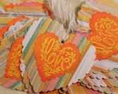 12 Vintage Mulberry Paper Valentine Heart Embellishments Orange Embossed with Pastel Blue Word Love   ...TAG0083...