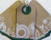 6 Primitive Floral Art Tags Green and Brown Repurposed Craft Paper ...TAG0097...