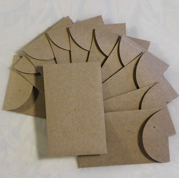 12 Mini Envelopes Recycled Craft Paper   ...1-7/8 x 3 inches...
