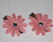 Paper Flower Hair Clips - Set of TWO - Baby pink\/brown