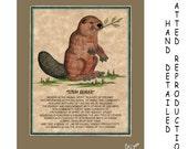 TOTEM BEAVER - Totem Animal Print on 5x7 Mat Board - Free Shipping Continental USA