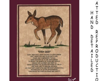 TOTEM DEER-DOE - Totem Animal Print on 5x7 Mat Board - Free Shipping Continental United States