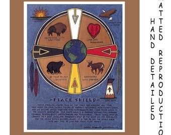 Peace Shield - 8x10 Dye Painting Print on 11x14 Mat Board - Free Shipping USA