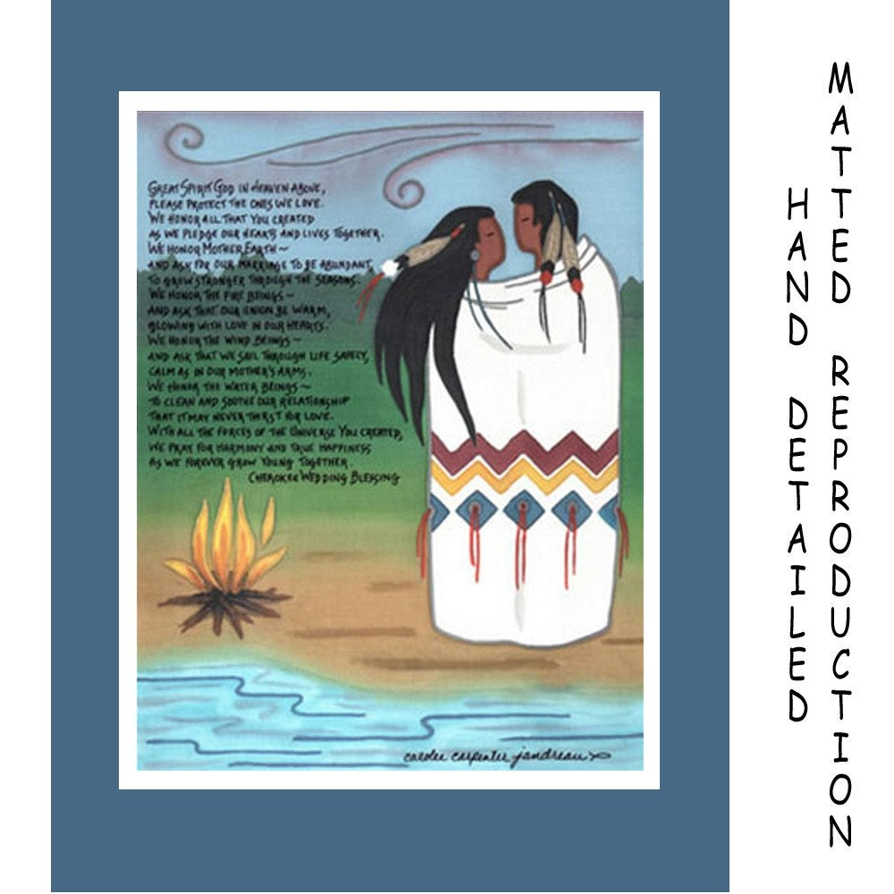 Cherokee Wedding Blessing 8x10 Dye Painting Print On 11x14