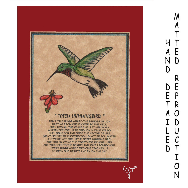 totem hummingbird totem animal print on 5x7 mat board free
