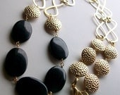RESERVED for TINEMAC  In Gold - Long Gold Chain and Onyx Stone Necklace