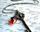 Key to My Heart - Sterling Silver and Red Swarovski Crystal Heart Necklace