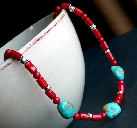 Phoenix - Red Coral and Turquoise Necklace