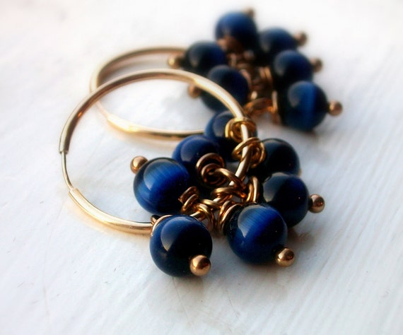 Bold and Blue - Gold Hoop Dangle Earrings