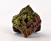 Crochet Ring Fiber Ring  Miniature Granny Square Moss Olive Green on Brown Banc