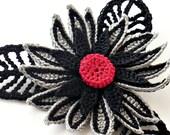 Crochet Brooch Fiber Brooch Irish Crochet Pin Gothic Pin Daisy Brooch Black Gray Red Grey Steampunk Brooch Crochet Flower Pin Flower Brooch