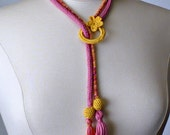 Crochet Necklace Lariat  Fuchsia Orange Yellow