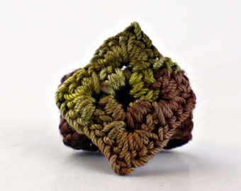 Crochet Ring Fiber Ring  Miniature Granny Square Moss Olive Green on Brown Banc