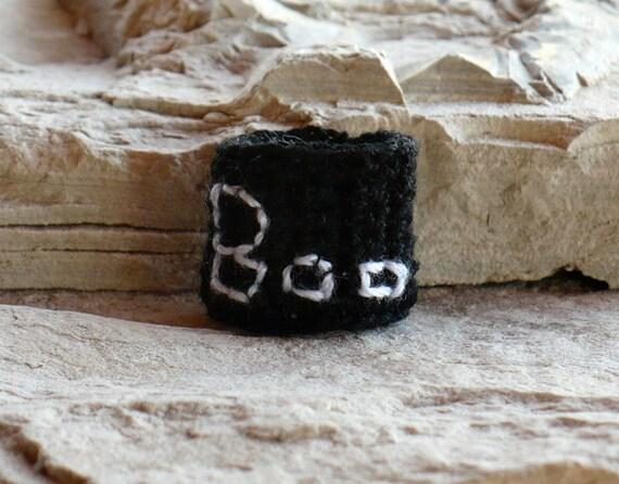 Crochet Ring Halloween Fiber Ring Boo On Black Band