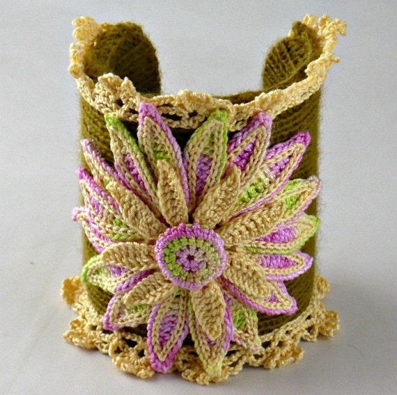 Knit Bracelet Cuff Irish Crochet Daisy Yellow Chartreuse Green Pink
