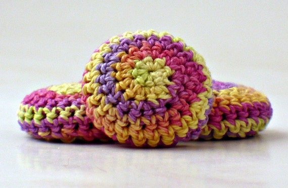 Covered Button Crochet Yellow Peach Fuchsia Lavender