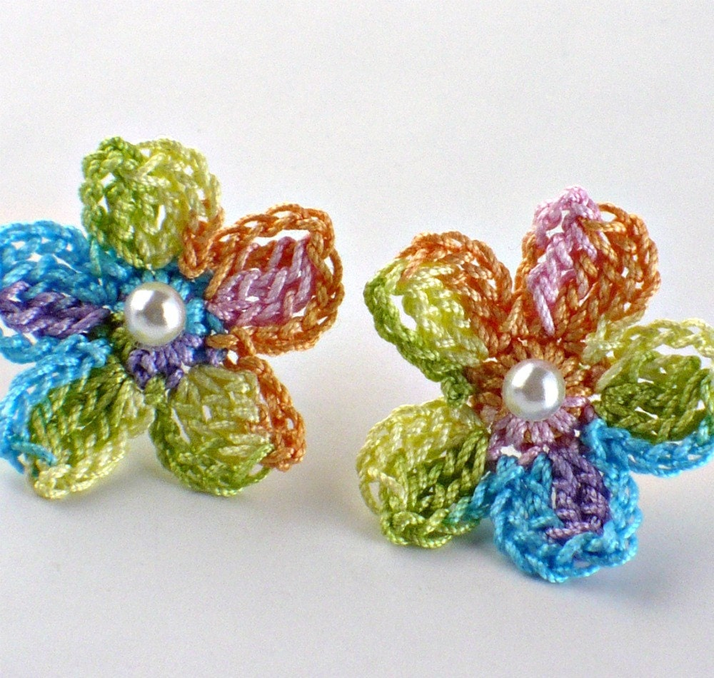 Crochet Earrings : Marked Down 20% Crochet Flower Earrings Crochet Earrings Stud Earrings ...