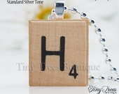 SALE- Buy 2 Get 1 Free - Natural Recycled Scrabble Tile Pendant- H