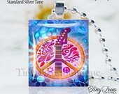 SALE  - Recycled Scrabble Tile Resin Pendant- Funky Tie Dyed Guitar Peace Sign