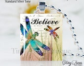 SALE - Recycled Scrabble Tile Resin Pendant- Believe- Dragon Fly 2