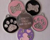 Dog ID tag Pet ID Tag Swarovski Crystal Bone or Paw Bling Rhinestone Identification ID tag Pink, black or purple Identification Charm Tag