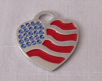 ID Tag - American Flag Rhinestone Pet Dog Cat ID tag Engraved key chain Dog Identification Charm ID Tag