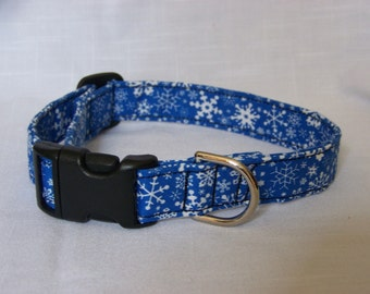 Blue Snowflakes Christmas/Winter Dog/Pet/Cat Collar Custom Made Adjustable Collar Cute