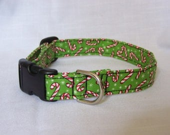 Candy Cane green/red Christmas Dog/Pet/Cat Collar Custom made cute adjustable collar