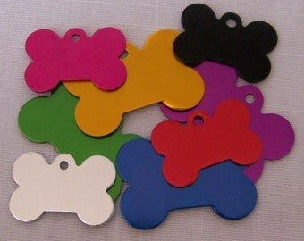 Bone Shape ID tag pet dog cat sizes ENGRAVED 8 colors to choose from