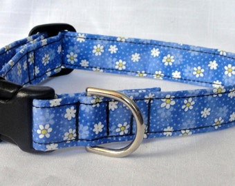Pet Collar - Blue with White Daisy Flowers Dog Collar Pet Collar Cat Collar Adjustable Custom Made Collar