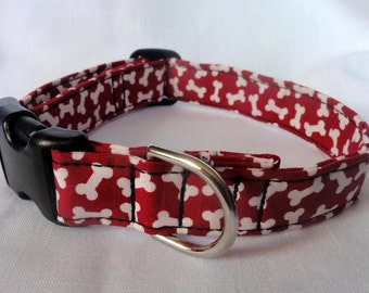 Red w/ White Bones Adjustable Dog Pet Collar Custom Made for your Pet