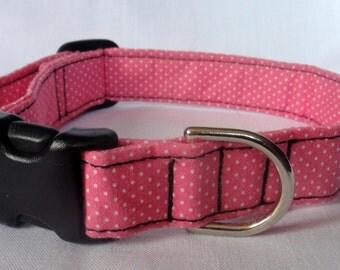 Pet Collar - Pink White Polka Dots Adjustable Dog Collar Cat Collar Pet Collar Custom Made for your Pet Pink Collar