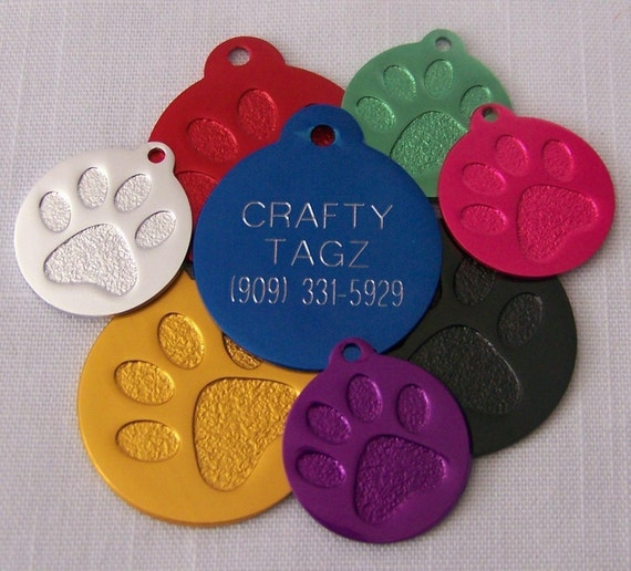 Pet ID Tag Paw Print ID Tag Dog tag Cat Pet engraved identification tag GREAT for Dog or Cat