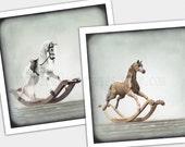 2 English Rocking Horses. 1 Dappled Gray & 1 Mahogany. Hand-crafted Heirlooms. Set of 2 photos 5x5