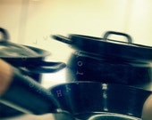 Pots & Pan. Black Enamel, Wooden Handle. Cooking in a Witches' Kitchen. As Fast As Lightning. Crazy Kitchen Art. 1 Photo 5x5