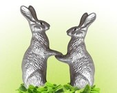 Bunny Rabbits. Newlyweds. Cute Silver Bunnies on Grass Green Salad. Valentine's, Wedding Gift, Vegetarians - Graphic Print 8x10