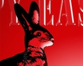 Deep Crimson Bunny. Glass-Like Vintage Rabbit. Scarlet Hare. Easter Greetings in Red. Typographic Print 8x10